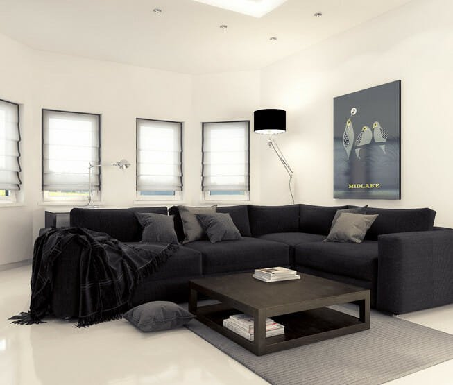 black and white living room decor small space