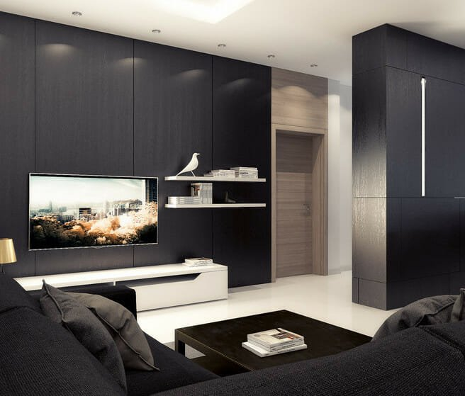 black and white living room decor wall treatment