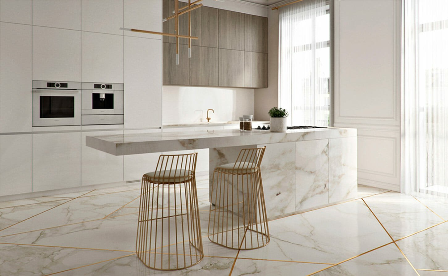 minimalist interior design kitchen marble
