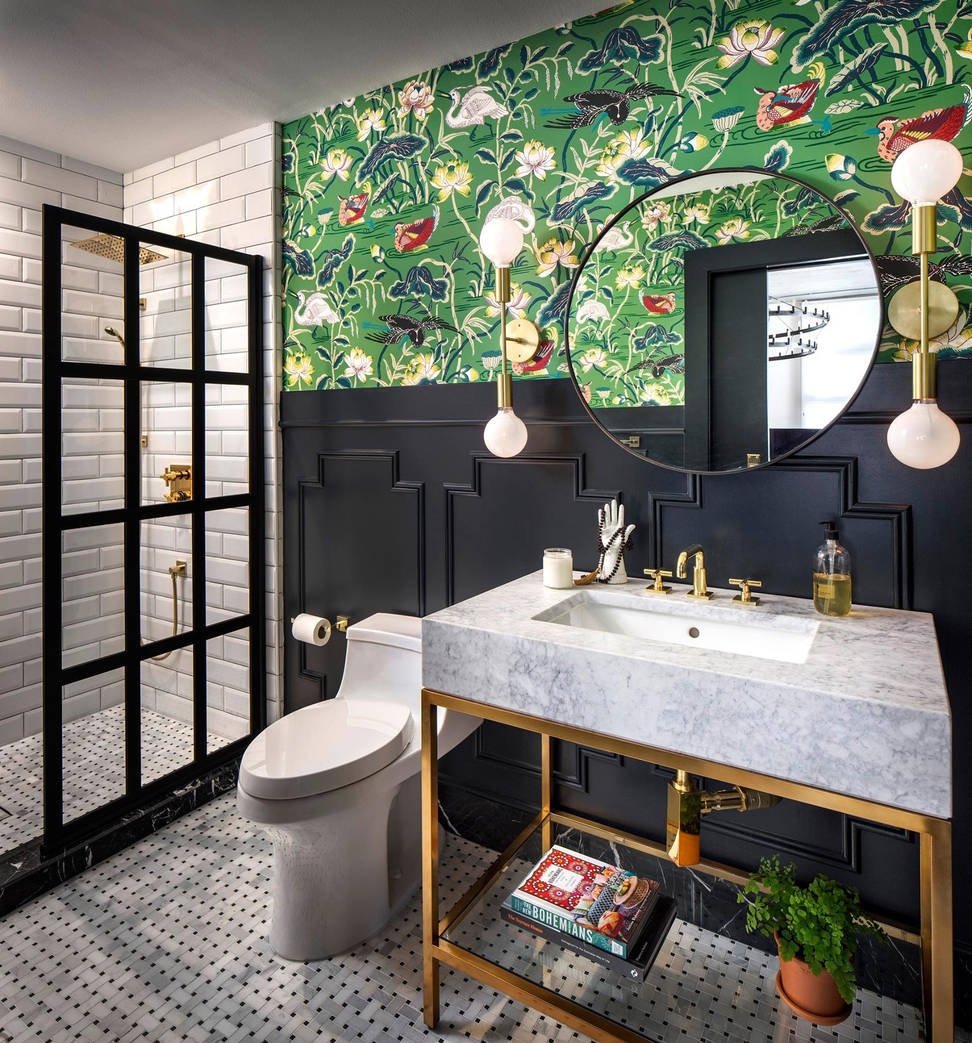 online interior designer spotlight corine m bathroom wallpaper