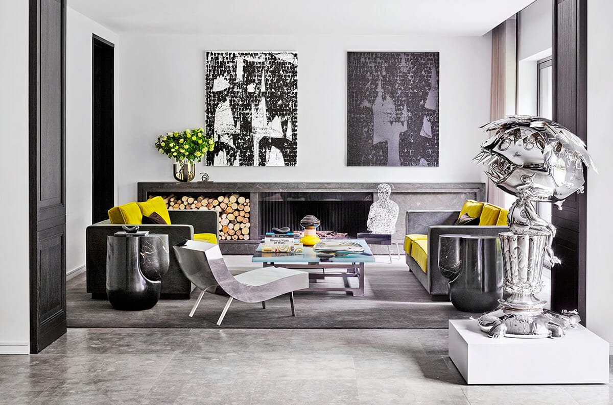 Contemporary-Interior-Design-Living-Room-with-Contemporary-Sculpture