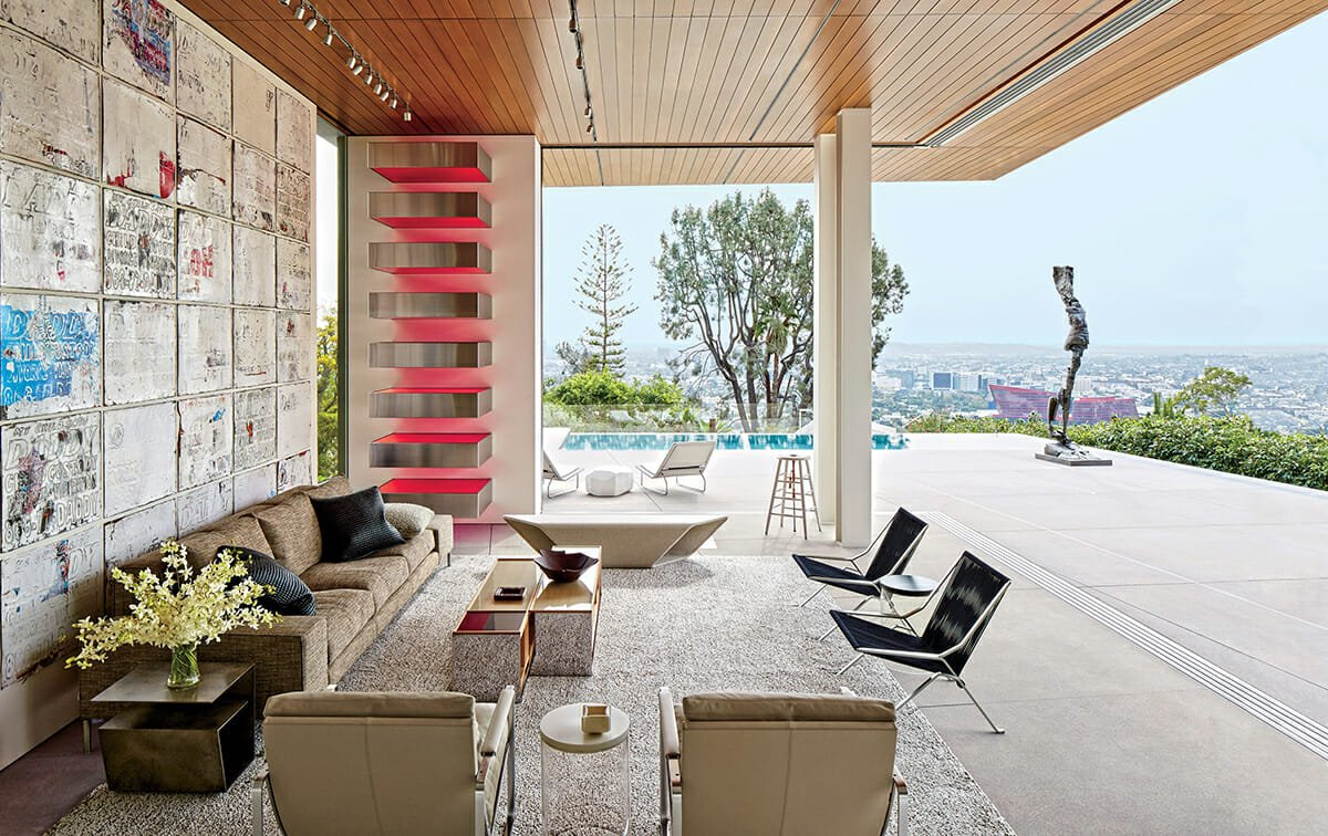 Contemporary-home-interior-design-Outdoor-Lounging-Area-with Contemporary-Art