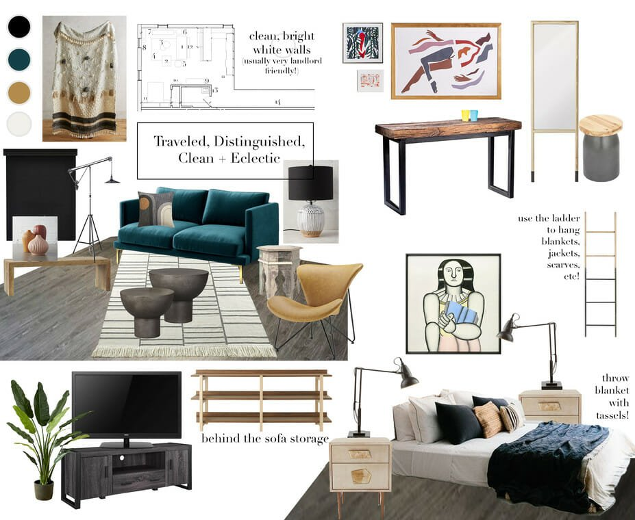 eclectic interior design moodboard for online studio apartment design