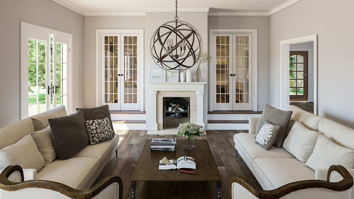 neutral transitional interior design style