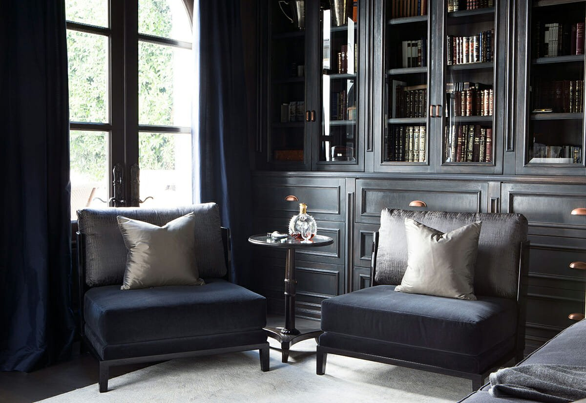 transitional-home-interior-design-study-area-with-navy-chairs-and-metallic-scatter-cushions