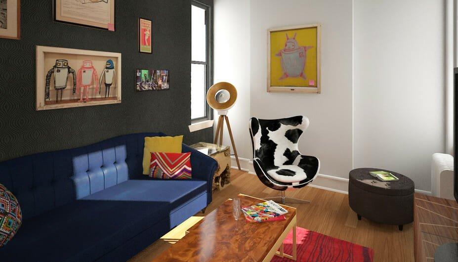 1_Eclectic-Living-Room-Studio-Aparrtment-Design-online