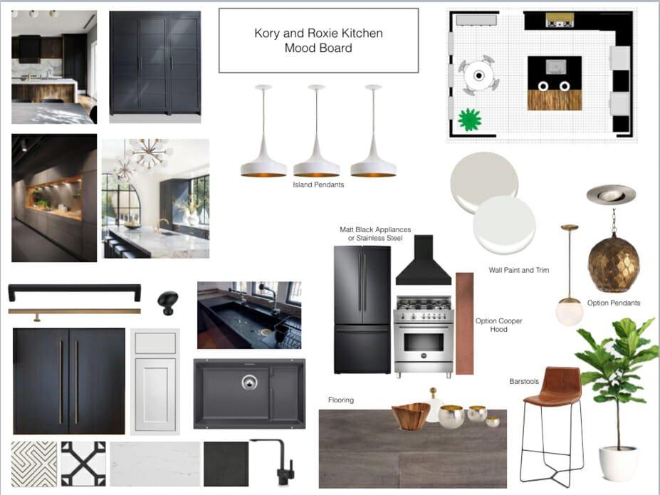 contemporary home online design kitchen moodboard