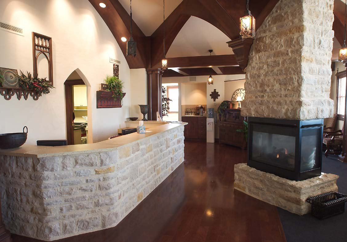 medical-clinic-design-dentist-larry-hutta-cook-orthodontics-team-dds-fireplace-snack-bar