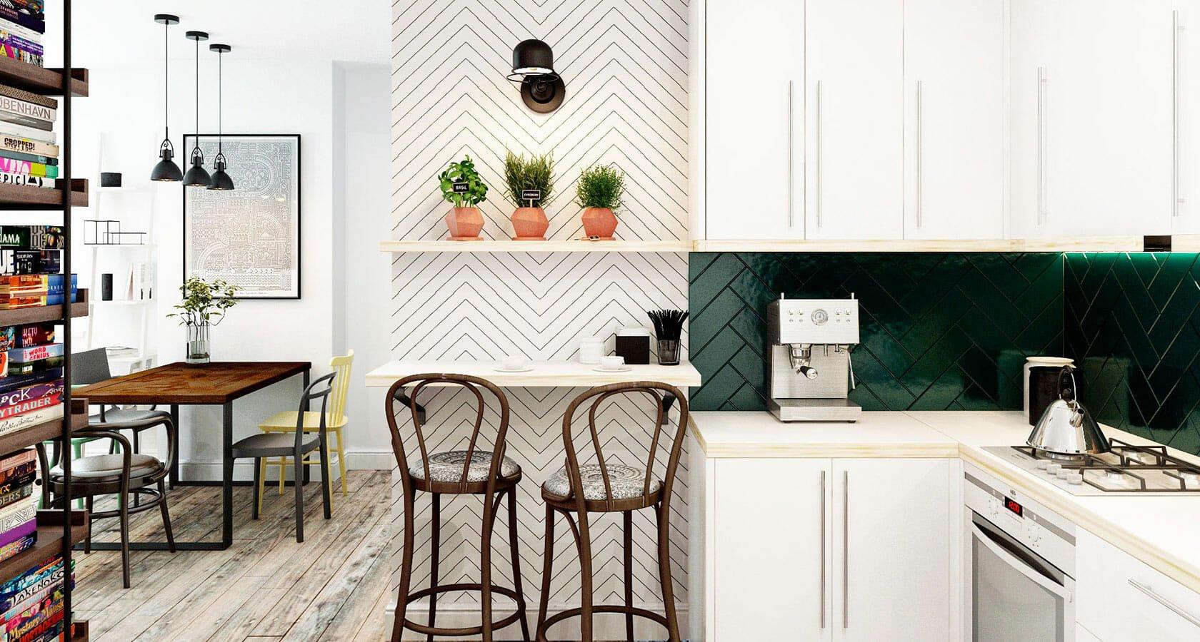 moden farmhouse Margaryta S. heringbone kitchen backsplash