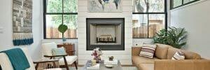 modern farmhouse interior design black frame windows