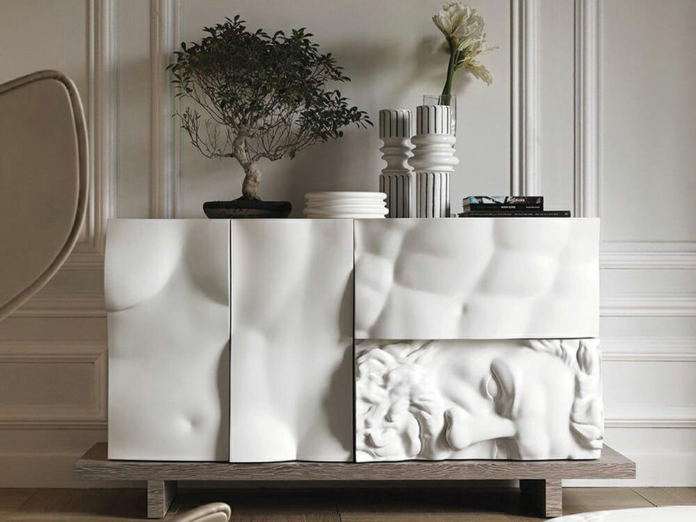 original art relief on functional art furniture