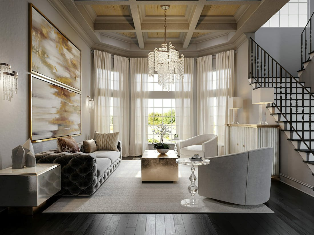 Glam formal sitting area by one of Decorilla's top orlando interior designers Tera S.