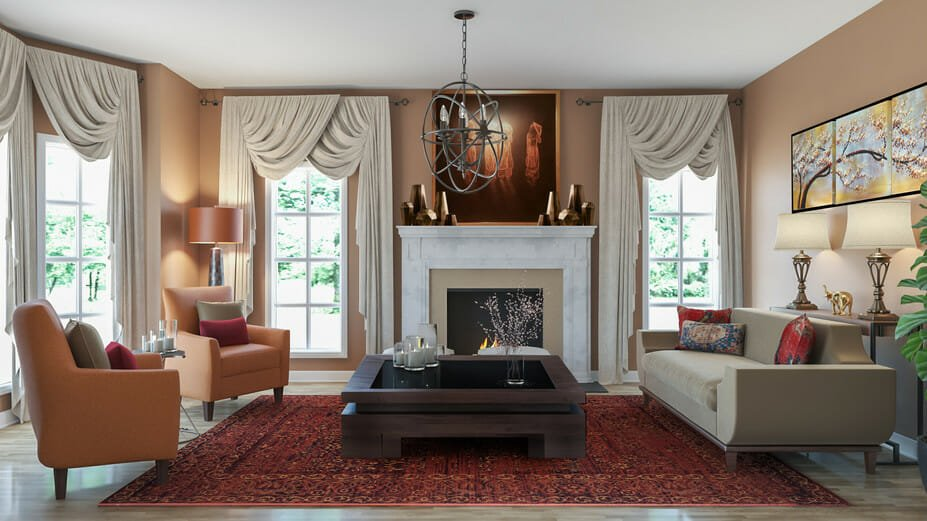 Rustic-traditional-online-living-room design with asian accents