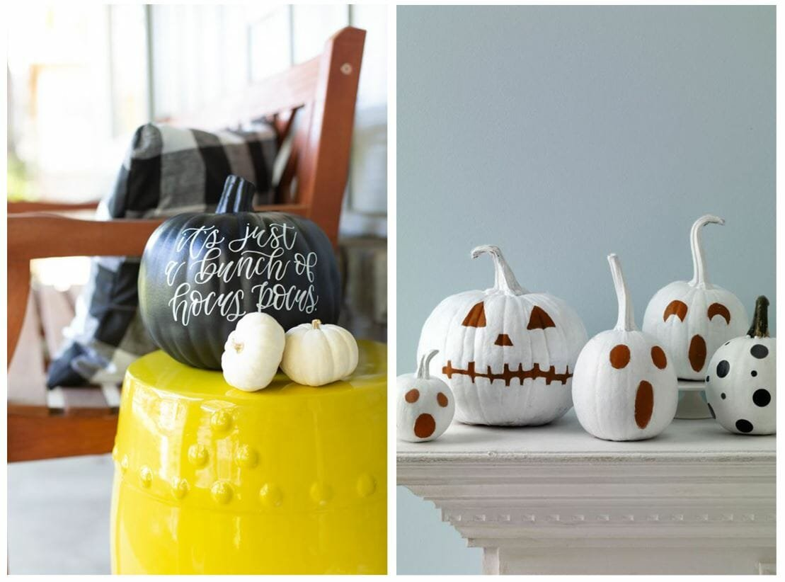 modern halloween decorations painted pumpkin