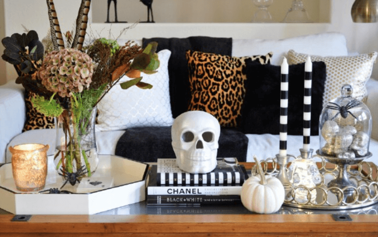 modern halloween decorations skull on table