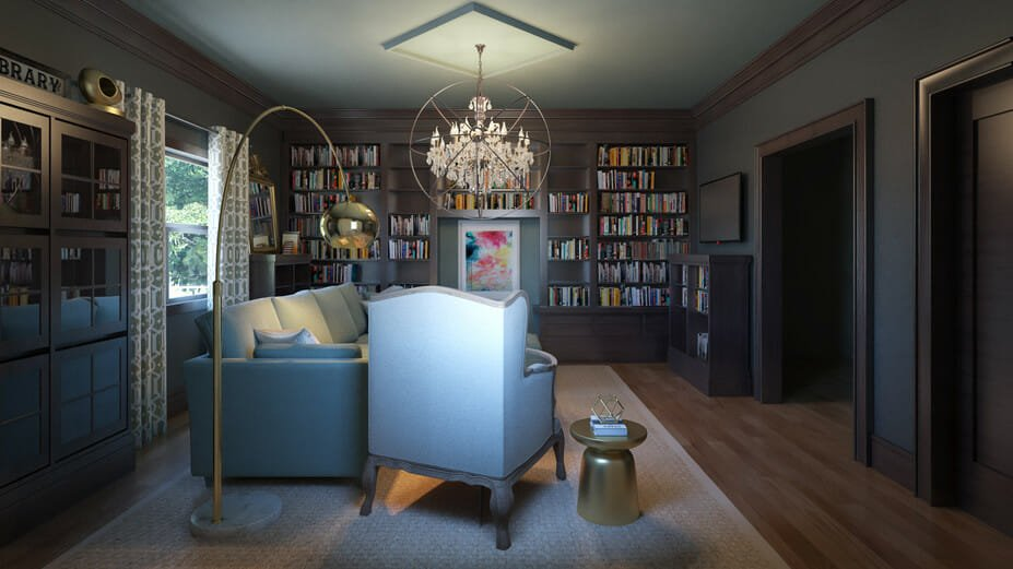 modern home library online interior design