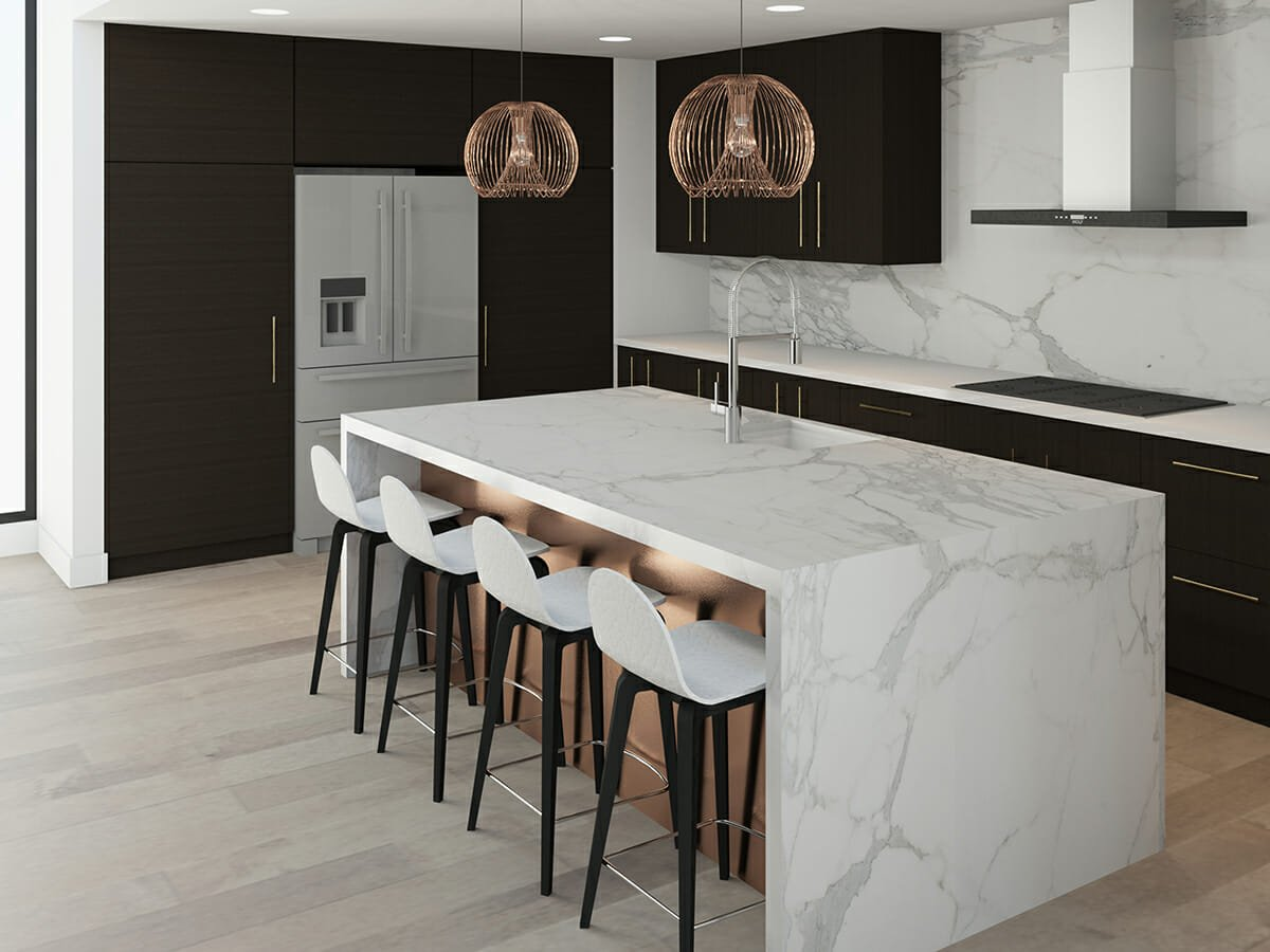 online interior designers luxurious kitchen with marble and black cabinetry