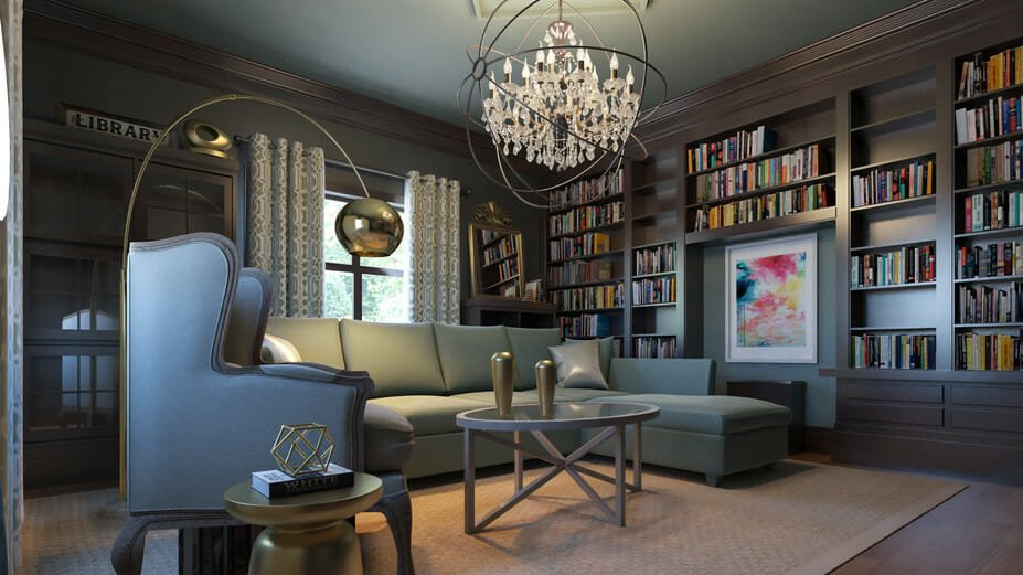 Before After Moody Online Library Interior Design Decorilla