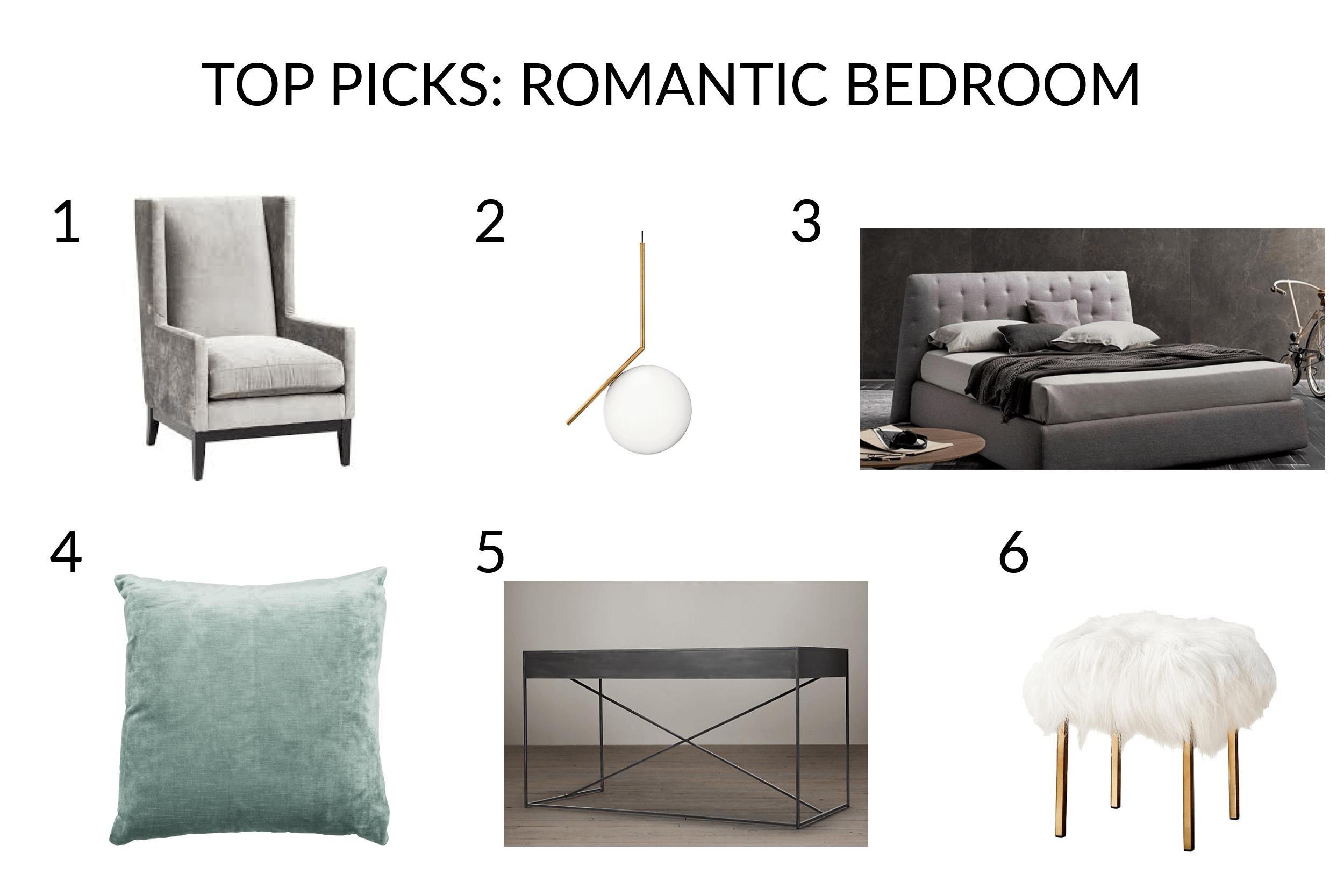 romantic bedroom online design by Decorilla designer Miaden C. - get the look