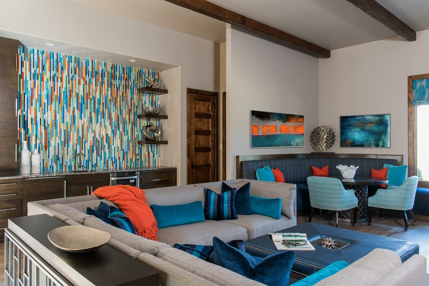 dallas interior designers - barbara gilbert - colorful contemporary living room