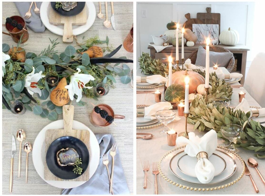 fall table decorating ideas greenery garland