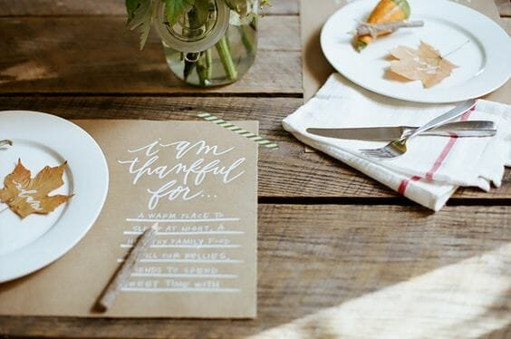 fall table decorating ideas placemat thankful