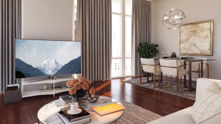 modern apartment design open plan living and dining areas