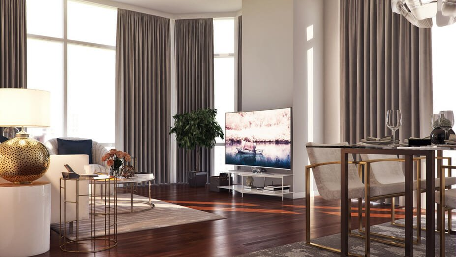 modern apartment design with metallic finishes