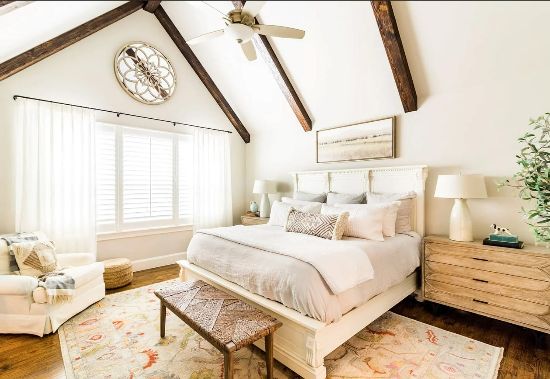 Neutral rustic bedroom by top dallas interior designers, landry designs 2