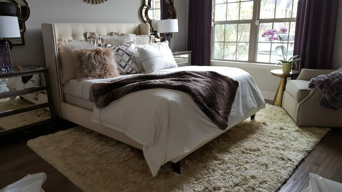 Transitional bedroom by one of the top dallas interior designers, shelley c