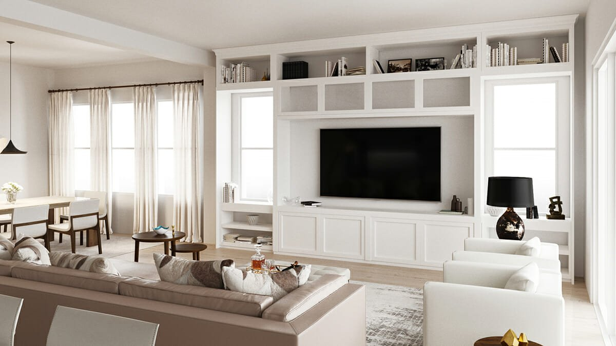 clean lines in a family room designed by an online interior designer