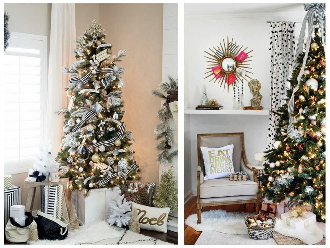 modern christmas tree ideas metallics