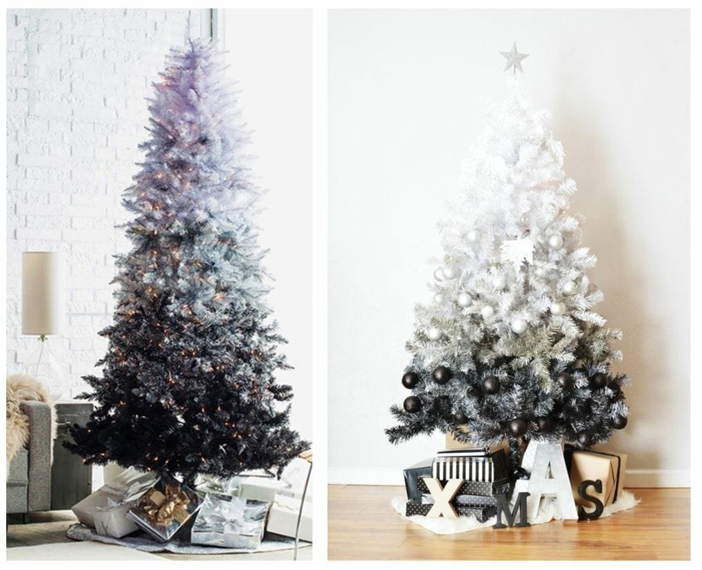 modern christmas tree ideas ombre