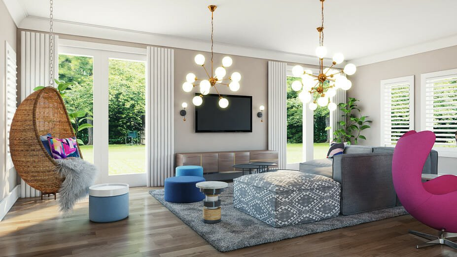 modern living room online design by decorilla designer michelle b