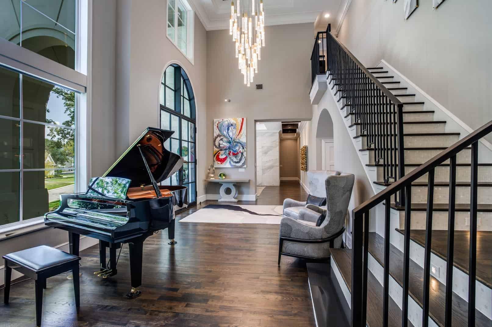 piano entry way by top dallas interior designers bgi designs