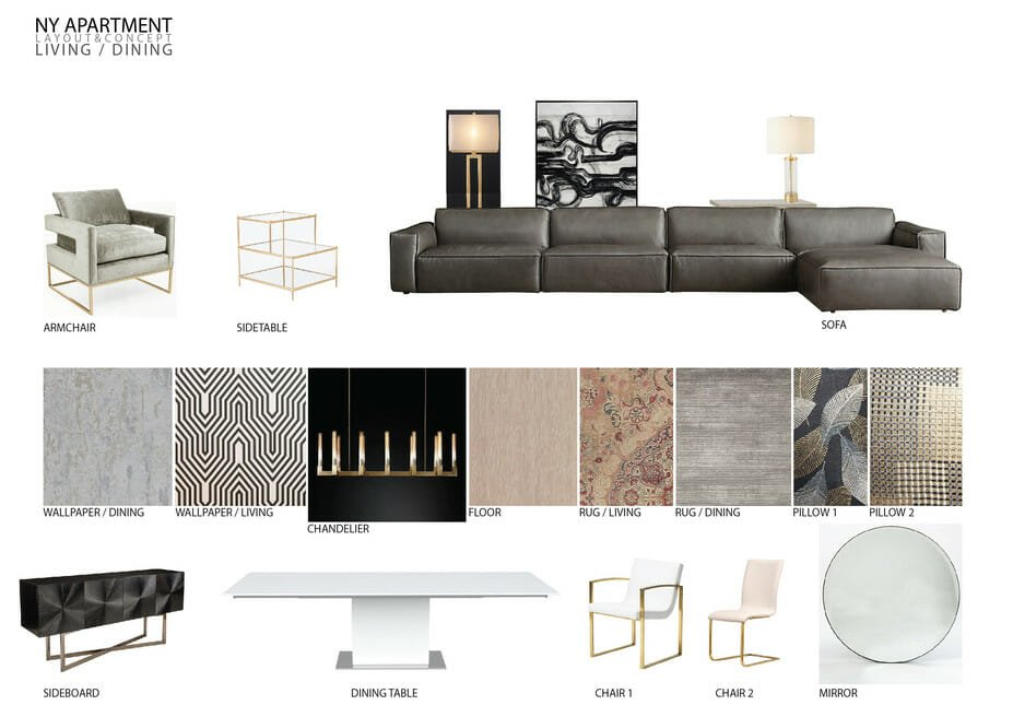 luxury apartment design online living & dining moodboard