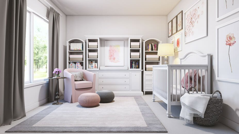 contemporary nursery interior design with gray and pink accents