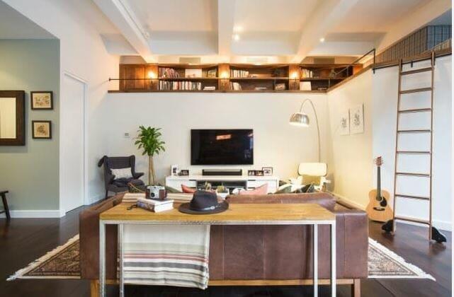 modern rustic living room design with ladder