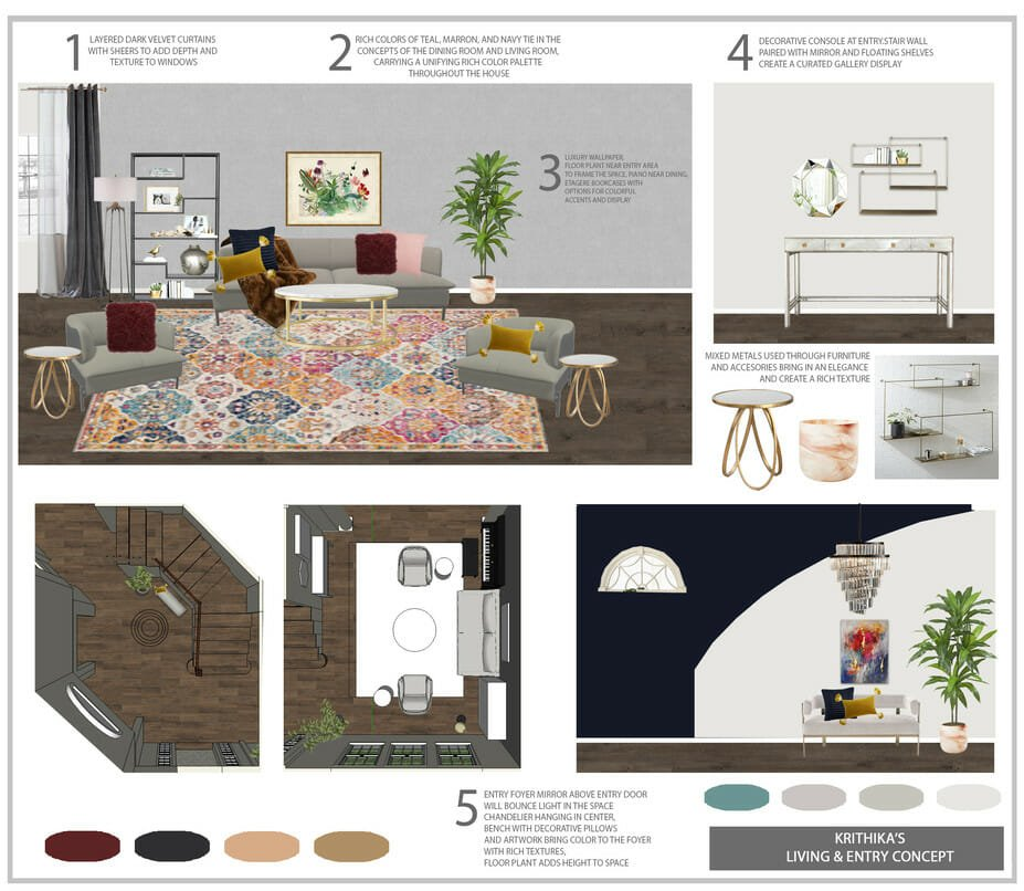 eclectic home interior design foyer moodboard