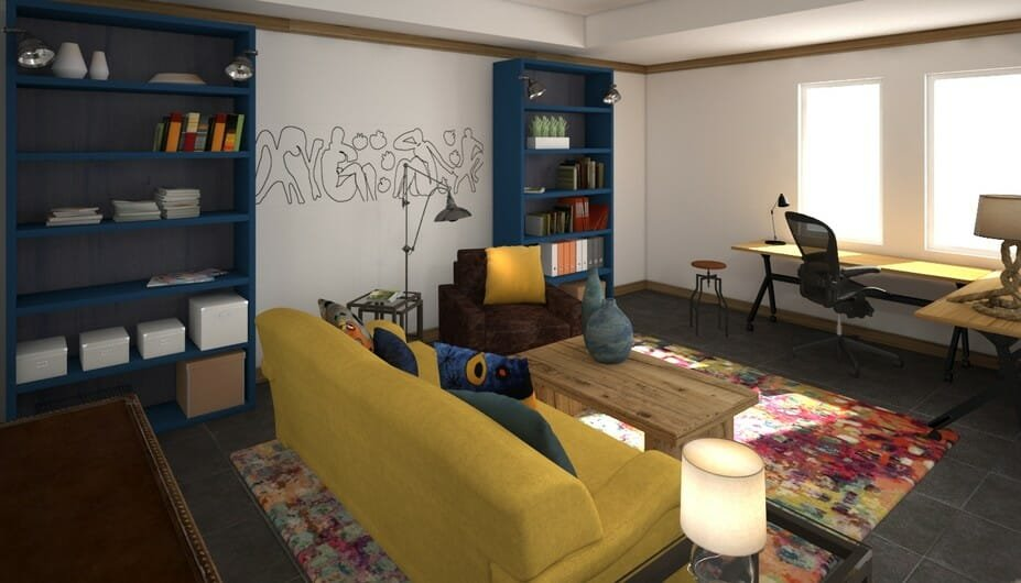bright yoga room design