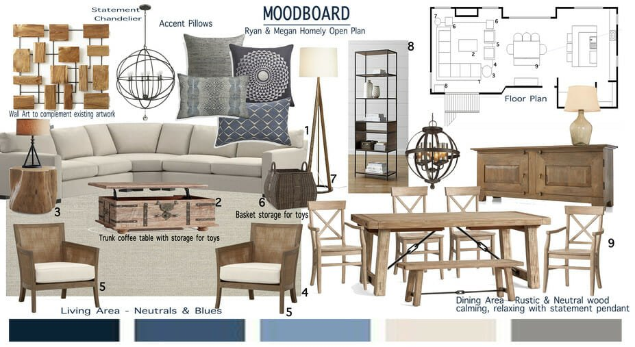 modern home interior design mood board