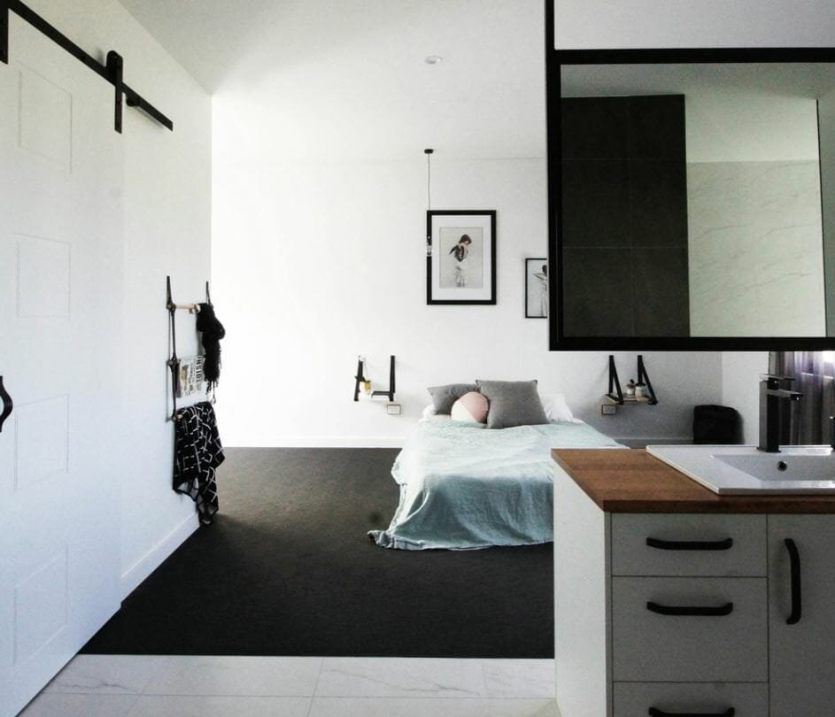 small studio apartment sliding door