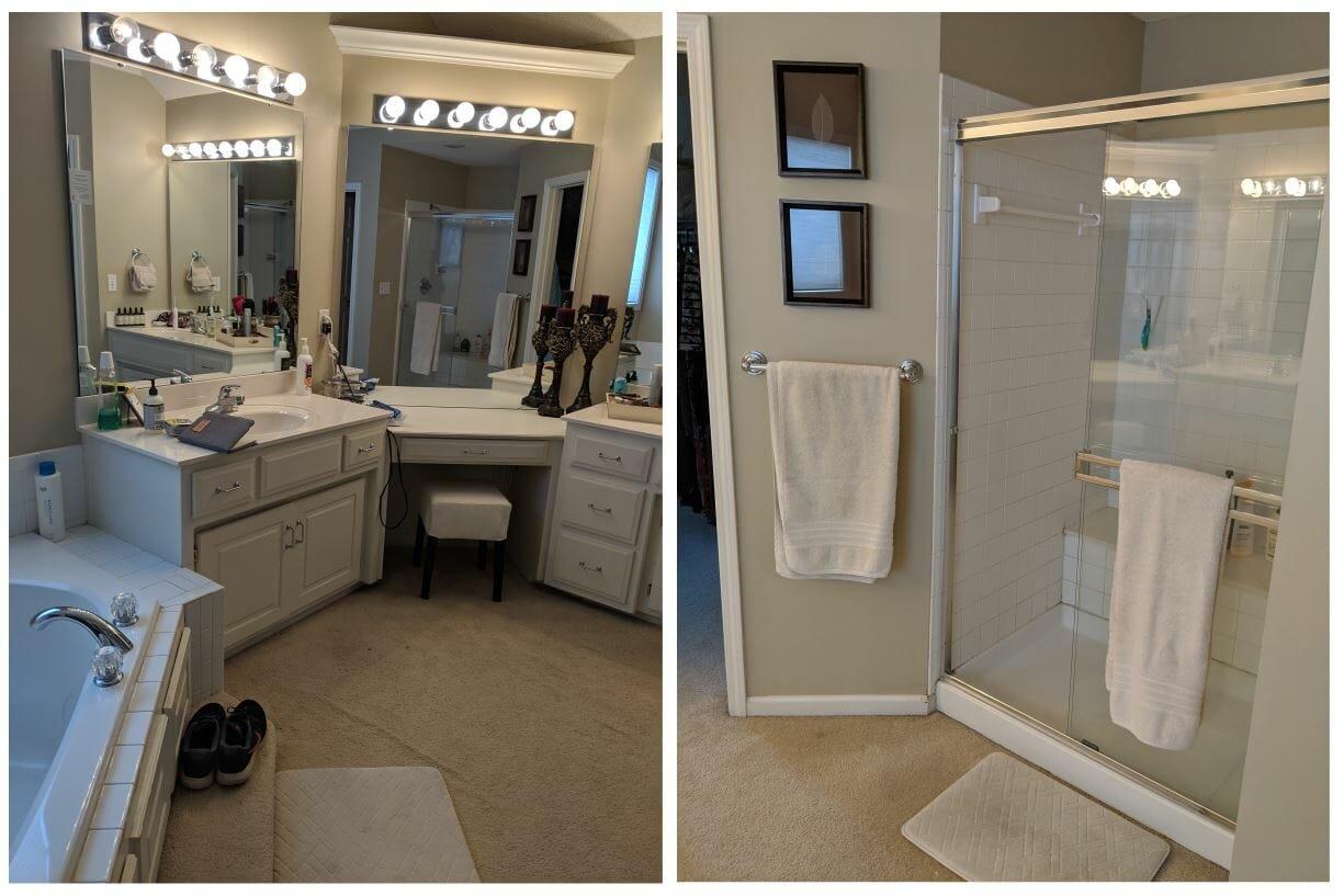 luxury master bathroom before
