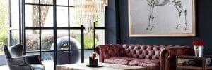 masculine transitional living room design