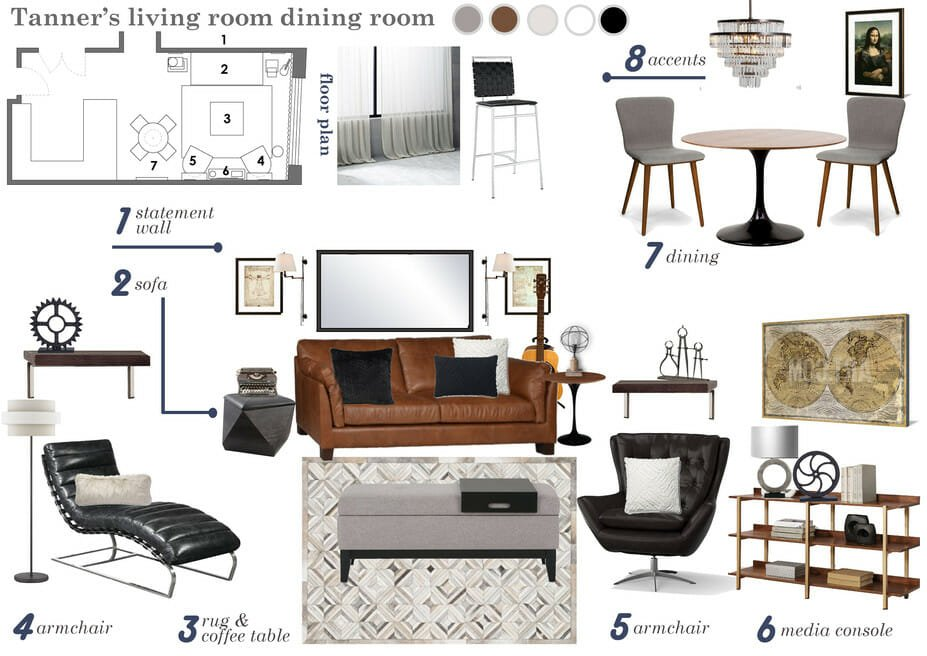 stylish bachelor pad living room design moodboard