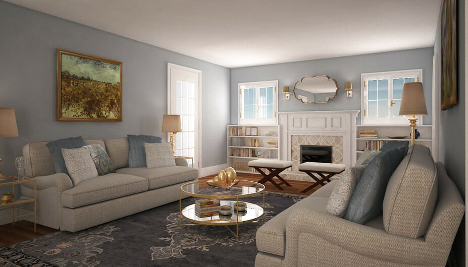living room design with double sofa