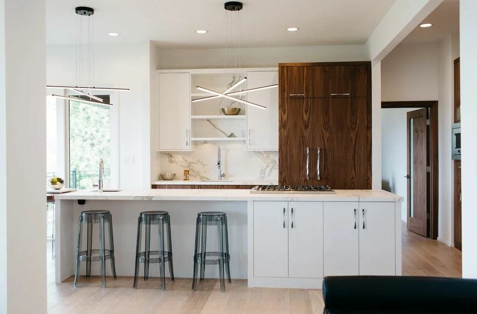 kitchen interior design white and wood