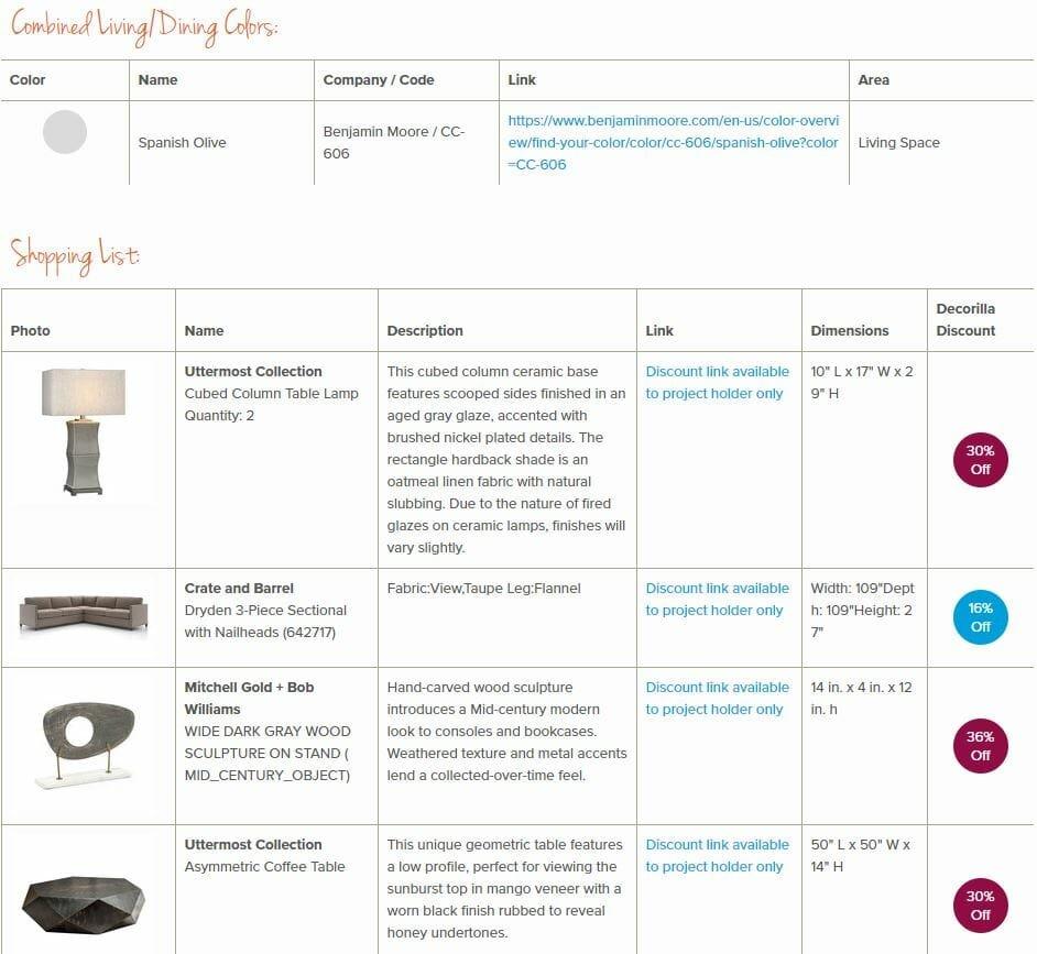 living room online interior design shopping list
