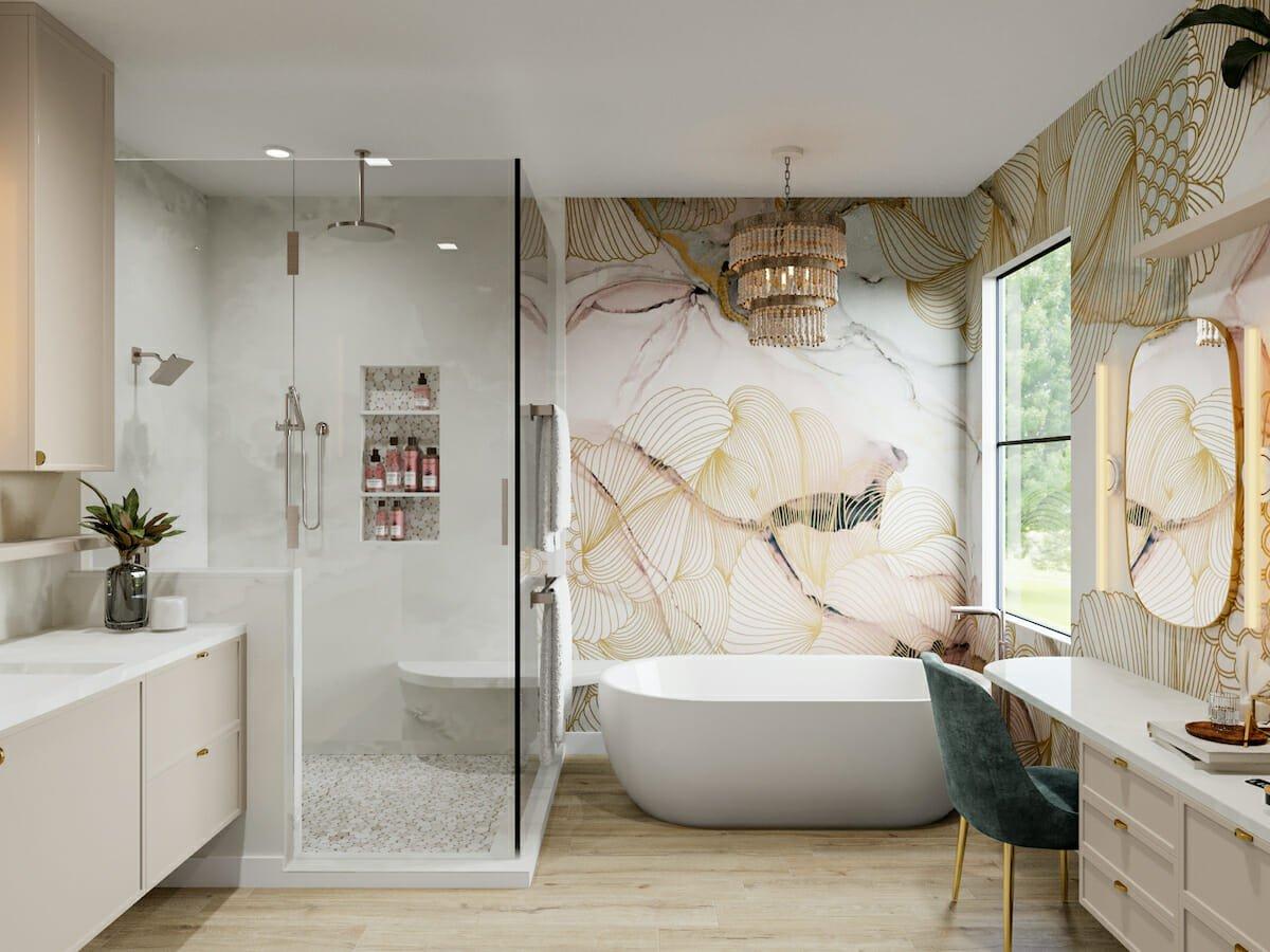 Glam feminine bathroom by one of Decorilla's Portland, Oregon interior designers, Betsy M.