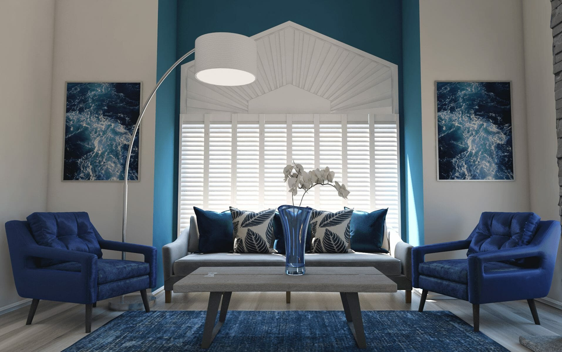 interior designer spotlight blue living room design